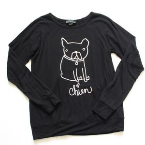 Size XL Black Chien (French for Dog) Sweatshirt